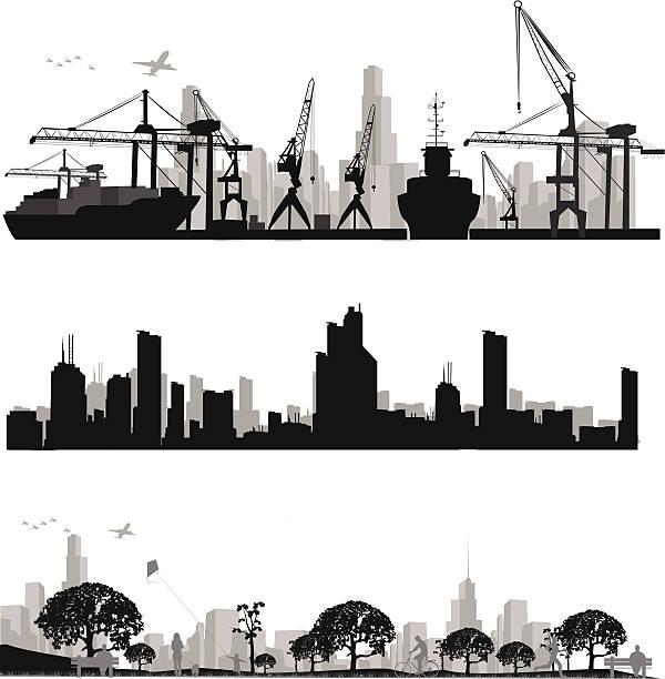 bildbanksillustrationer, clip art samt tecknat material och ikoner med city skyline shiluettes.vector illustration - hamn
