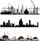 City skyline shiluettes.Vector illustration