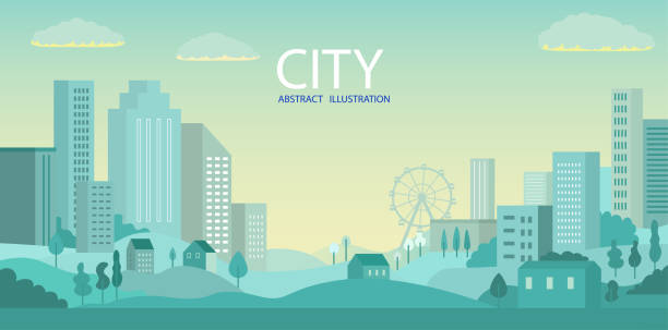 city skyline vector illustration. urban landscape. daytime cityscape. - suburbs stock illustrations