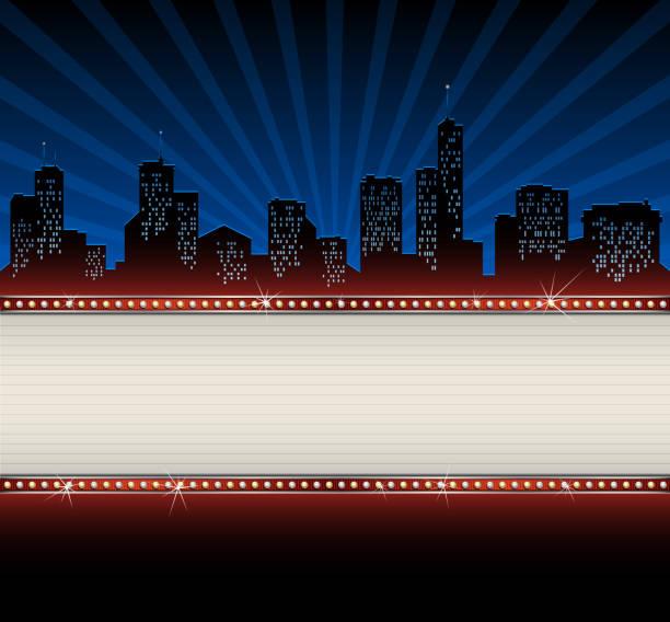 ilustraciones, imágenes clip art, dibujos animados e iconos de stock de horizonte de la ciudad de con banner - cine
