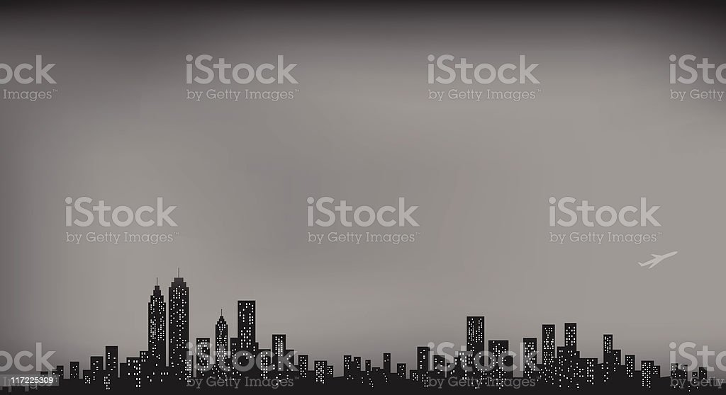 City Skyline with dark and cloudy winter sky at night royalty-free stock vector art
