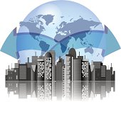 City skyline with earth background and arrows for international business
