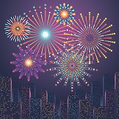 Modern and simple city skyline illustration with firework display.