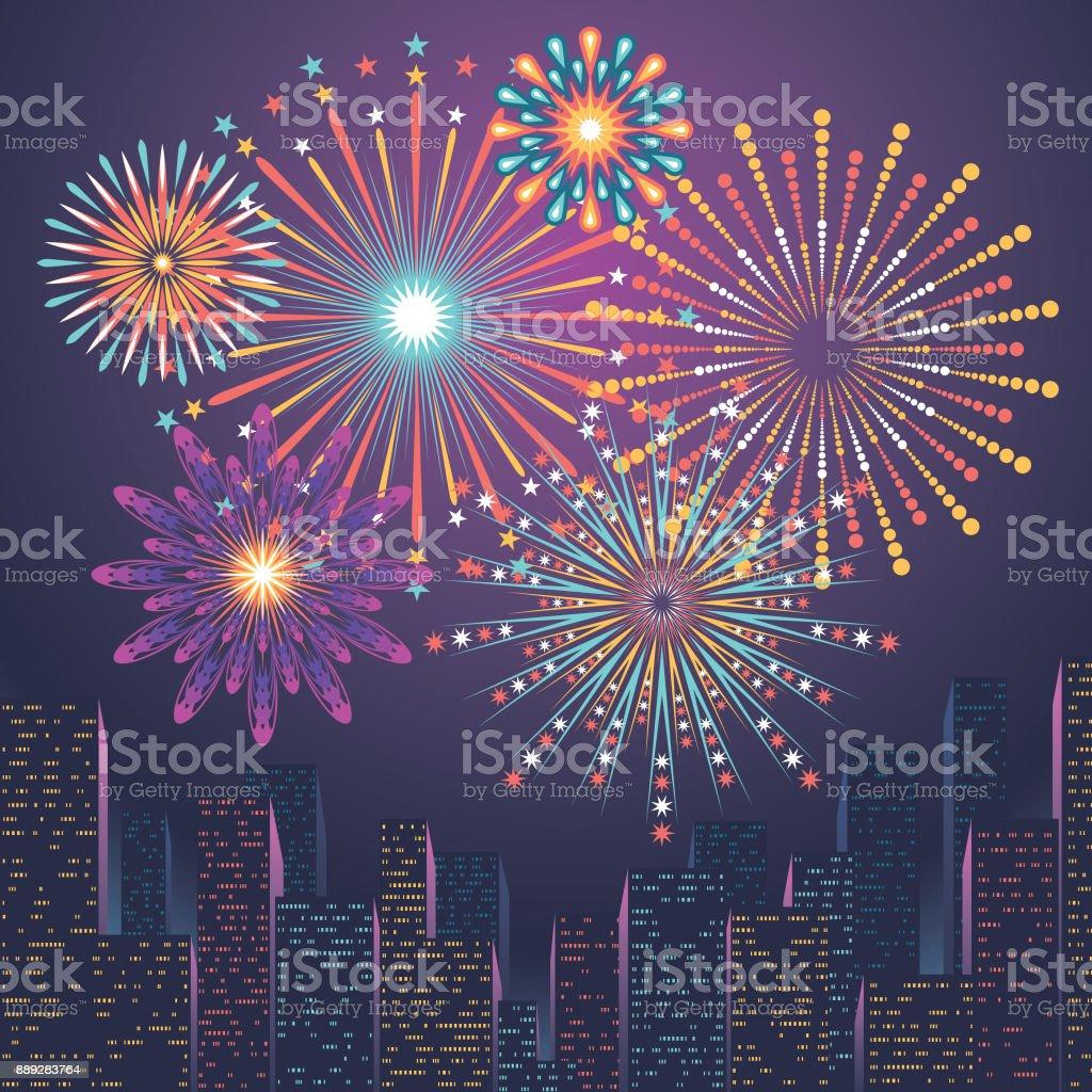 die Skyline der Stadt mit Feuerwerk – Vektorgrafik