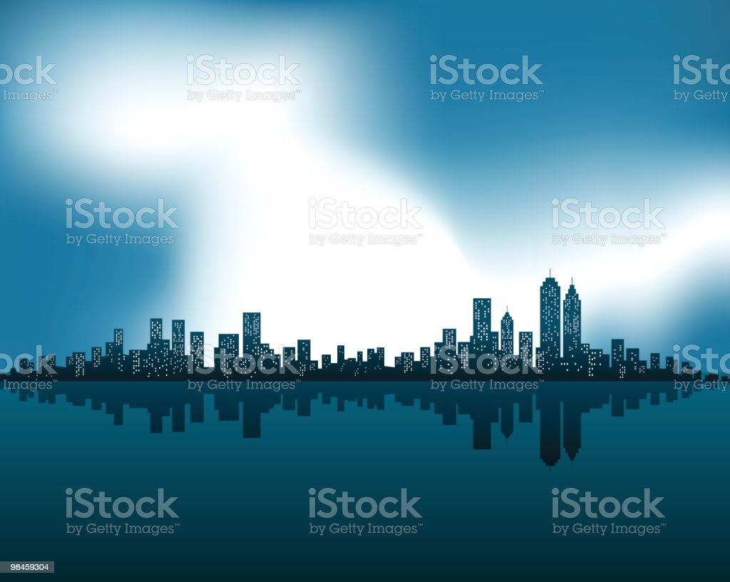 City Skyline with Lightning at night in winter illustration royalty-free city skyline with lightning at night in winter illustration stock vector art & more images of autumn