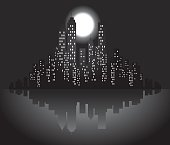 City Skyline with moon,stars at night silhouette illustration