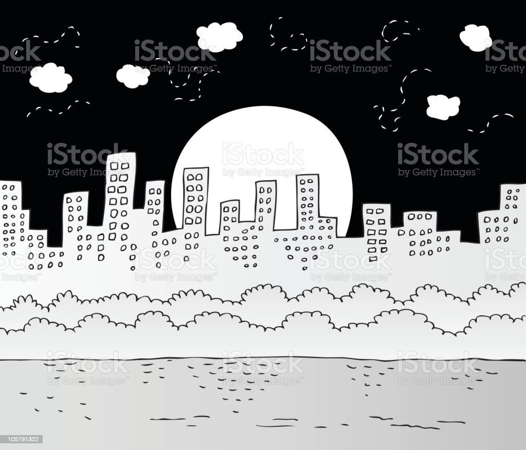 City Skyline with Park and Pond at Night royalty-free stock vector art
