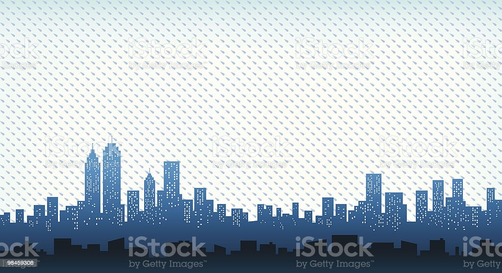 City Skyline with rain at fall, winter illustration silhouette royalty-free city skyline with rain at fall winter illustration silhouette stock vector art & more images of autumn