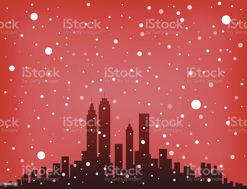 City Skyline with snowing sky and nature at Christmas newyear royalty-free city skyline with snowing sky and nature at christmas newyear stock vector art & more images of backgrounds