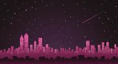 City Skyline with stars and winter sky at night