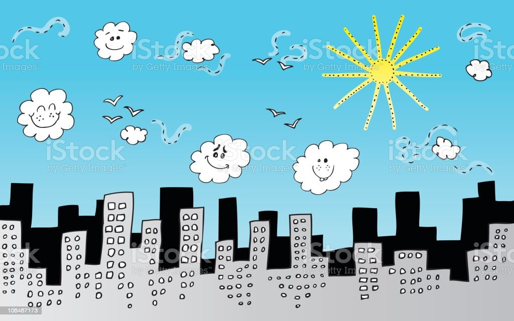 City Skyline with Sunny sky and clouds at Day time royalty-free city skyline with sunny sky and clouds at day time stock vector art & more images of backgrounds