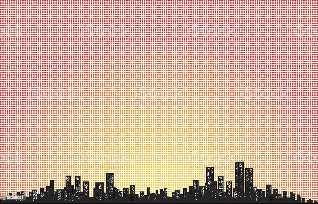 City Skyline with sunshine and polka dots ilustration royalty-free stock vector art