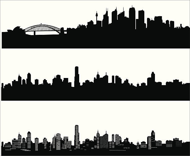 City skylines Sydney, melbourne and melbourne at night cityscape stock illustrations
