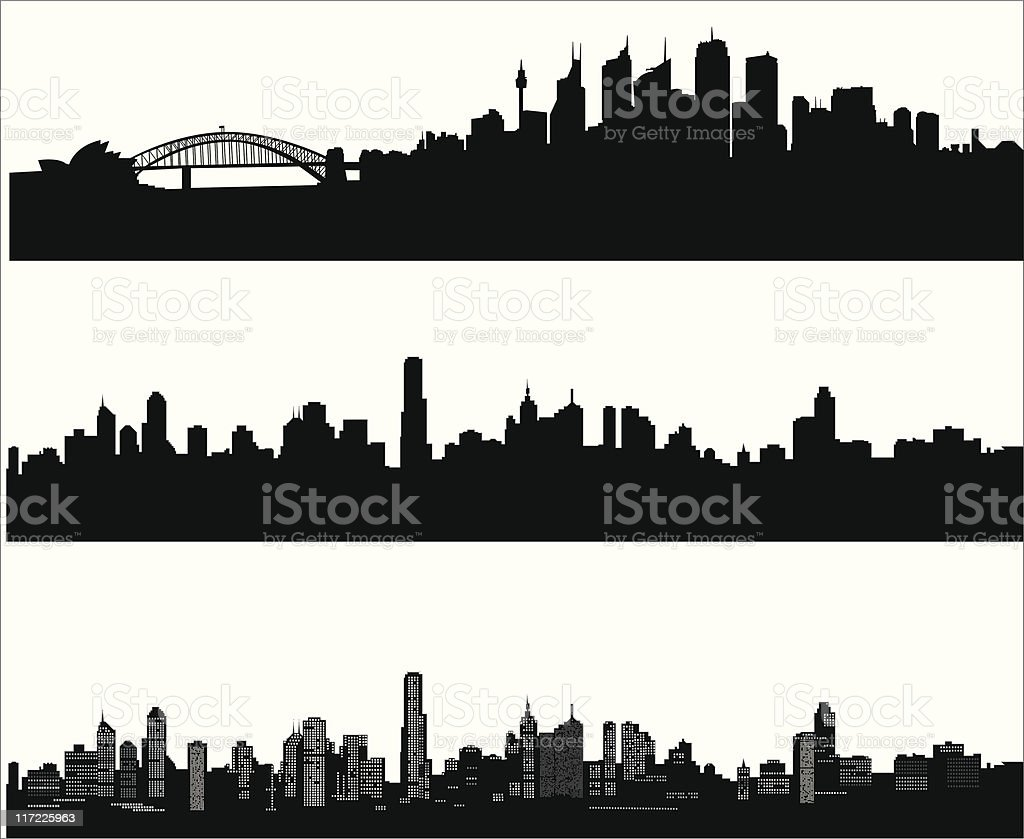 City skylines vector art illustration