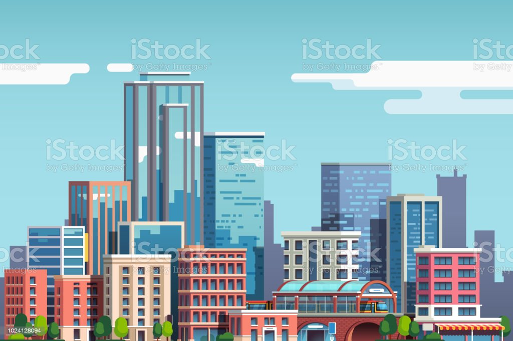 City skyscrapers and business buildings skyline. Downtown cityscape. Big town real estate business. Flat style vector clipart royalty-free city skyscrapers and business buildings skyline downtown cityscape big town real estate business flat style vector clipart stock illustration - download image now
