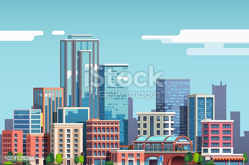 City downtown with skyscrapers, business buildings, clouds, blue sky. City center downtown cityscape view. Big city buildings. Town real estate scenery clipart. Flat vector illustration isolated on background