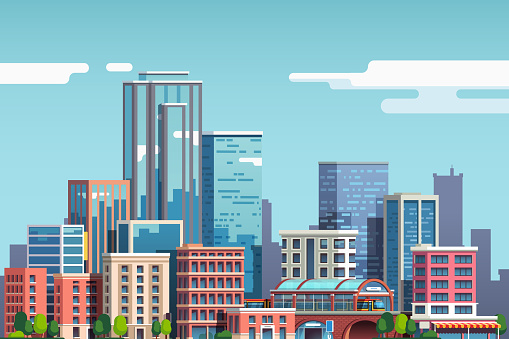 City skyscrapers and business buildings skyline. Downtown cityscape. Big town real estate business. Flat style vector clipart clipart