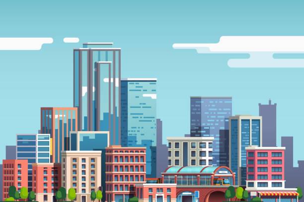 ilustraciones, imágenes clip art, dibujos animados e iconos de stock de rascacielos de la ciudad y horizonte de edificios de negocios. centro urbano. negocio de bienes raíces de gran ciudad. imágenes prediseñadas de vector de estilo plano - ciudad