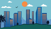 City skyscrapers and business buildings skyline. Downtown cityscape. Big town real estate business. Flat style vector clipart