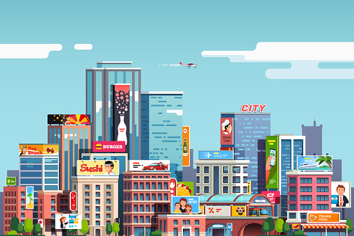 City skyscrapers and business buildings skyline scenery. Downtown cityscape with lots of all sorts of advertisement banners. Big town real estate business. Flat style vector clipart
