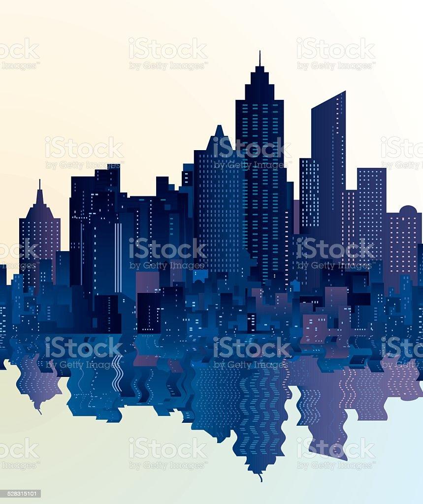 city skyscrapers reflection vector art illustration
