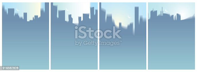istock City skyscrapers silhouettes skyline vector illustrations set. Perfect minimal backgrounds with copy space for text. 916582828