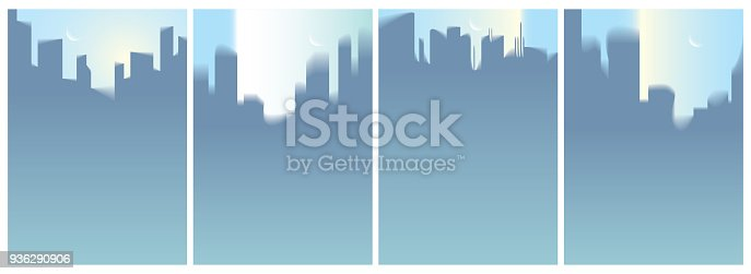 istock City skyscrapers silhouettes skyline vector illustrations set. Perfect minimal backgrounds with copy space for text. 936290906