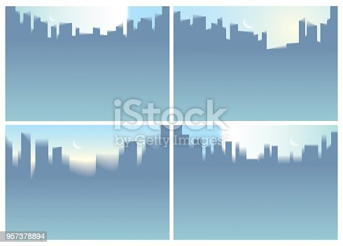 istock City skyscrapers silhouettes skyline vector illustrations set. Perfect minimal horizontal A4 backgrounds with copy space for text. 957378894