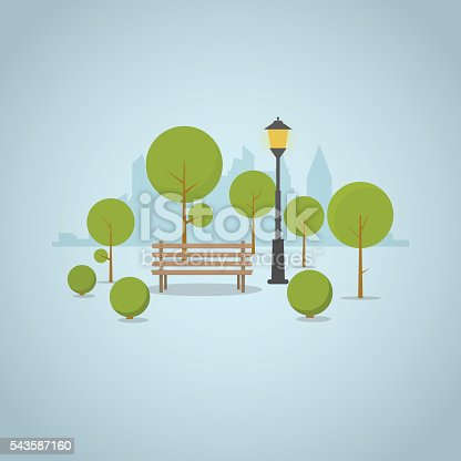 Wooden park bench in big city park with trees and bushes, city skyscrapers skyline on background. Street classic park lamp near bench and circled shadows.