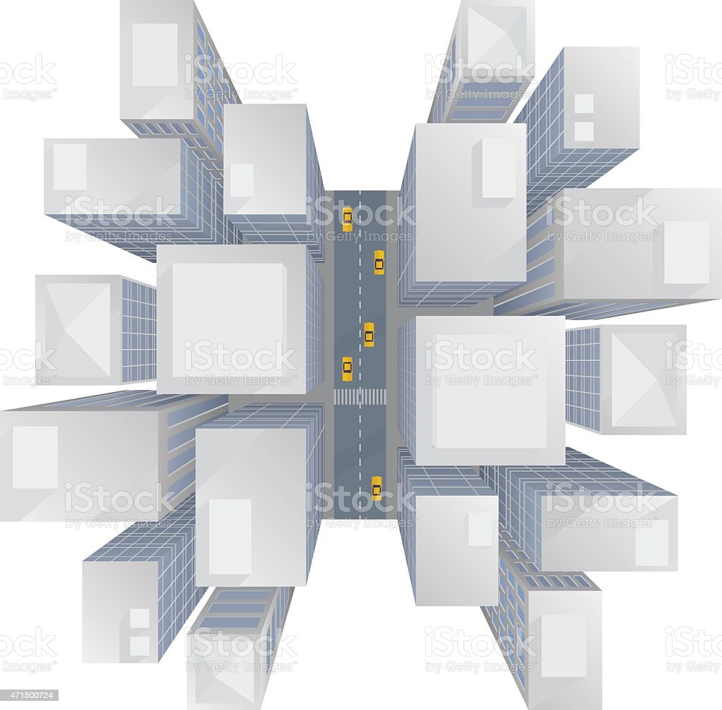 city skyscrapers top view vector art illustration