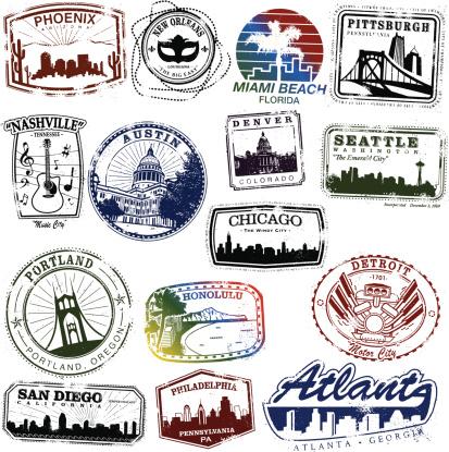 Series of vintage US city stamps.