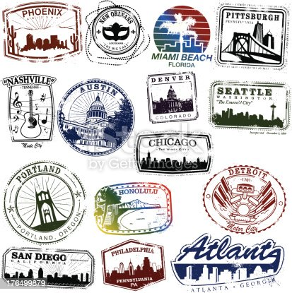 Series of vintage US city stamps.