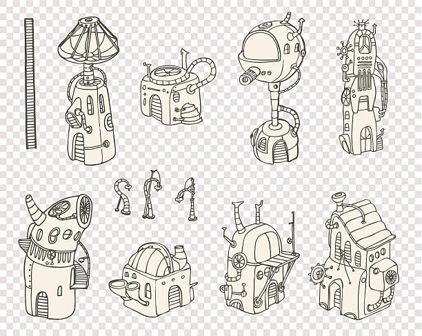 City steampunk set1 2013 vector art illustration