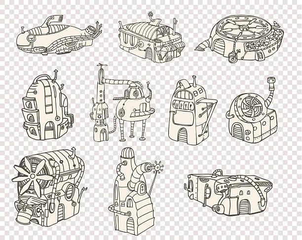 City steampunk set2 2013 vector art illustration