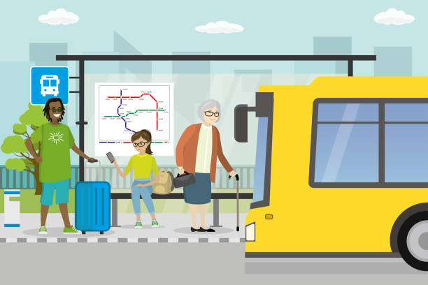 City street and road with transport,modern public transport stop vector art illustration