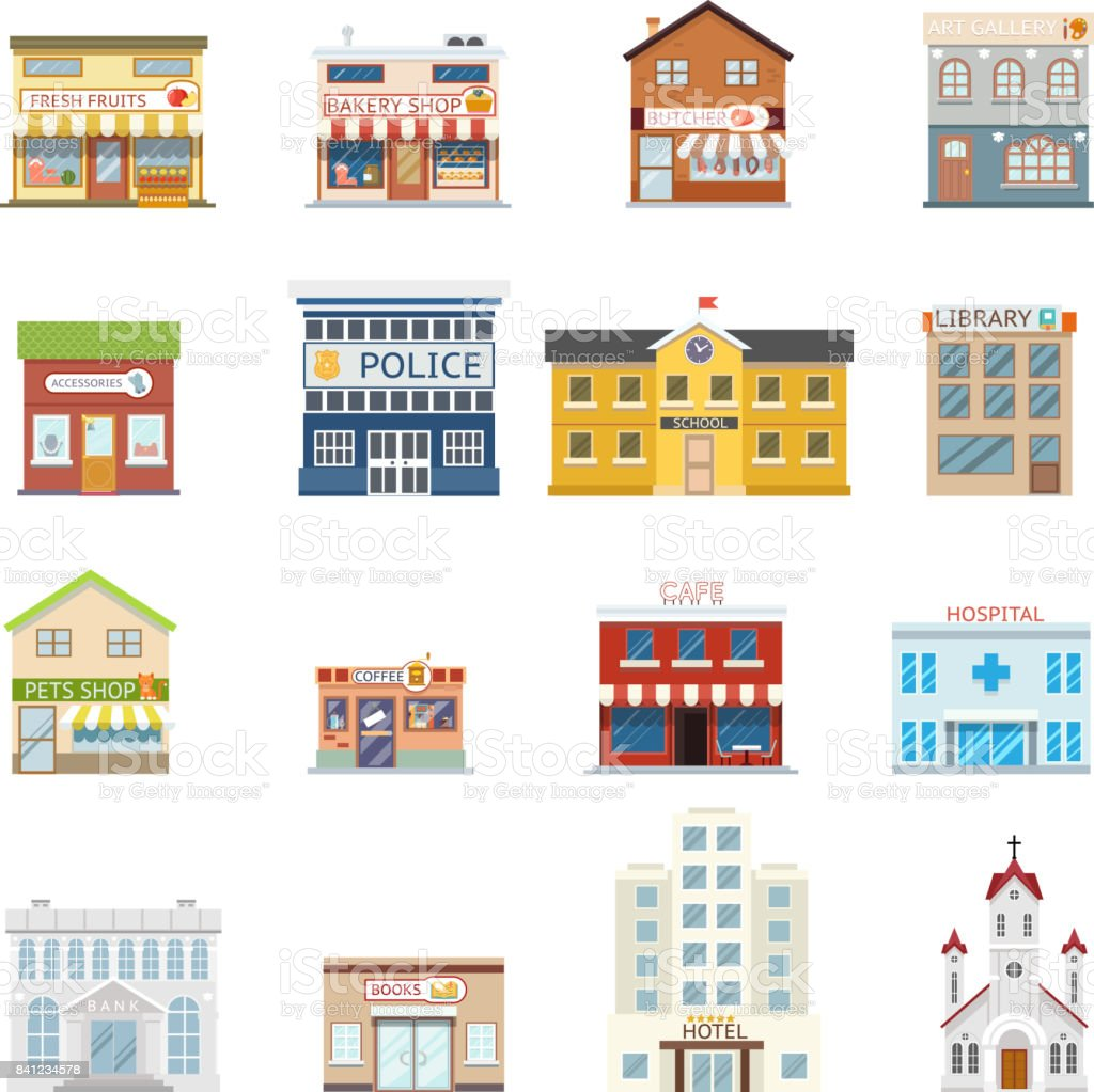 City street building shops real estate architecture set isolated flat design vector illustration - illustrazione arte vettoriale