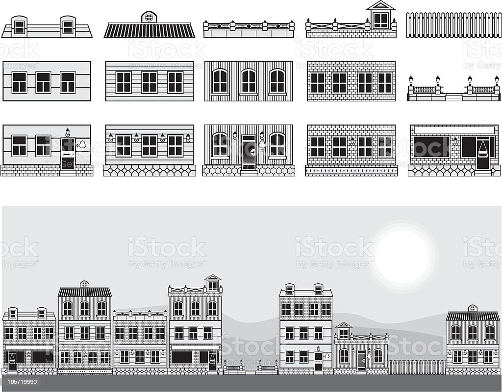 City street construction set royalty-free stock vector art