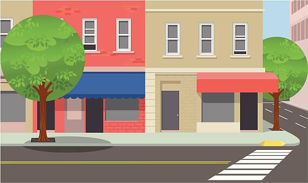 stockillustraties, clipart, cartoons en iconen met city street corner - stoep