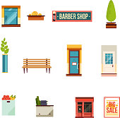 City street icons set, flat style