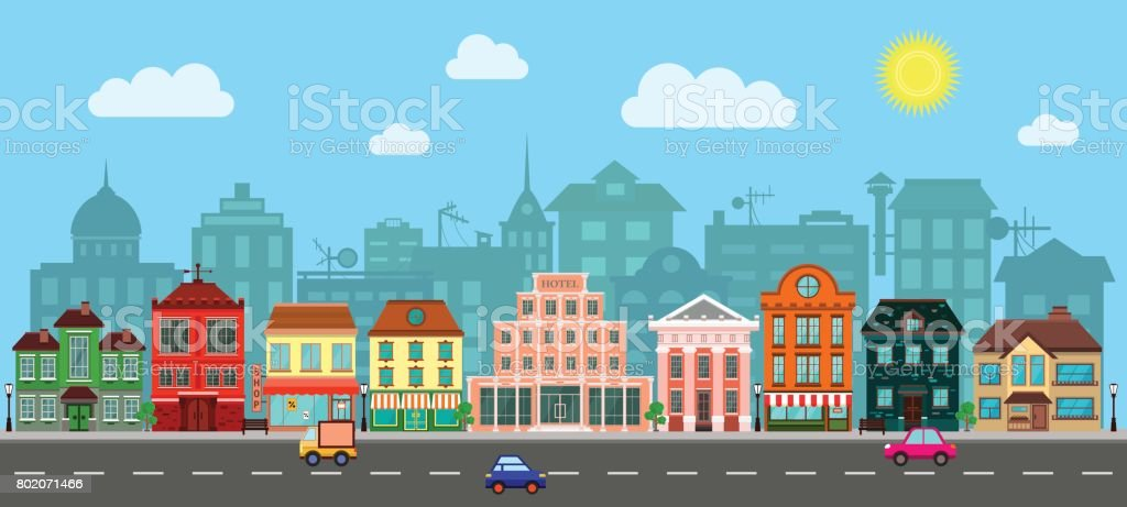 City Street in a Flat Design royalty-free city street in a flat design stock illustration - download image now