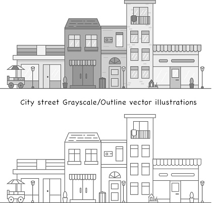 City street in Grayscale vector