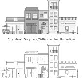City street vector illustration in Grayscale and outline options. Store front, cafe,  buildings and living houses on the street. Food truck, plants in pots and street lights as a details.