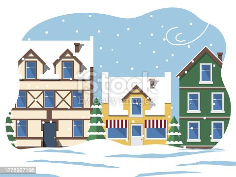 istock City Street in Winter, Snowing Weather in Town 1278967198