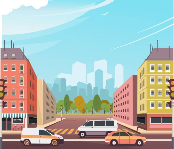 ilustraciones, imágenes clip art, dibujos animados e iconos de stock de intersección calle ciudad - señalización vial
