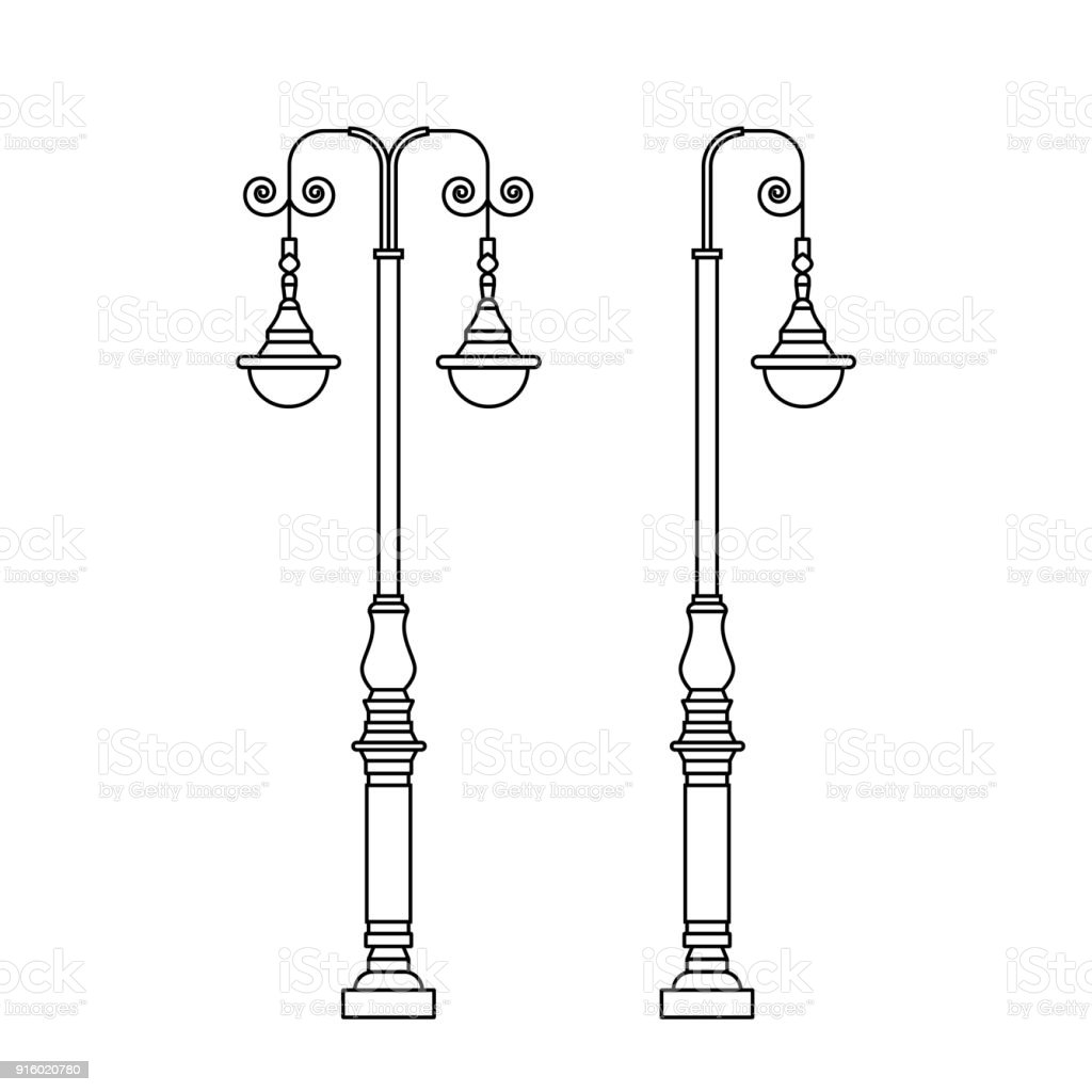 Light Pole Design: City Street Light Pole With Two Hanging Lanterns In
