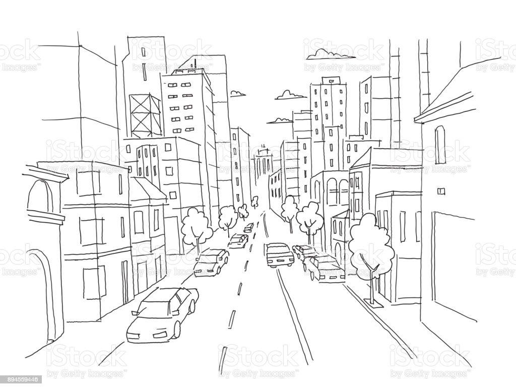 Stadtstraße Lineare Perspektive Skizze Stadtplanansicht Autos Am ...