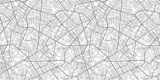stockillustraties, clipart, cartoons en iconen met city street kaart - fysische geografie