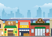 vector of city street of japan in flat style