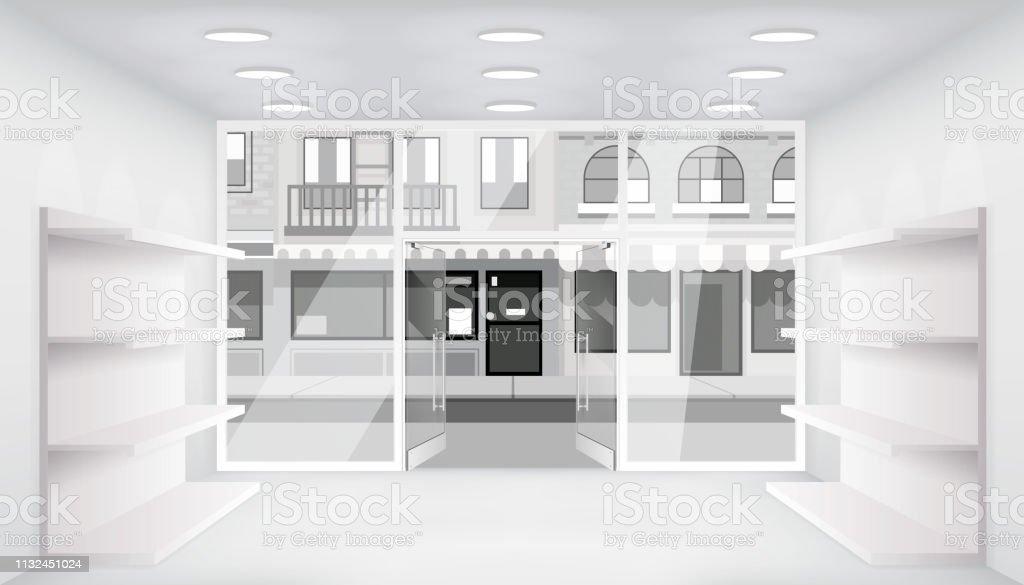 City Street Open Doors Store Interior 3d Shop Empty Trade