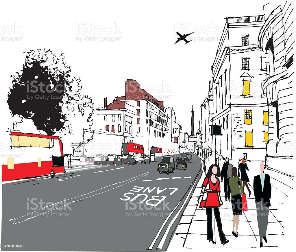City street scene vector illustration with traffic and pedestrians vector art illustration